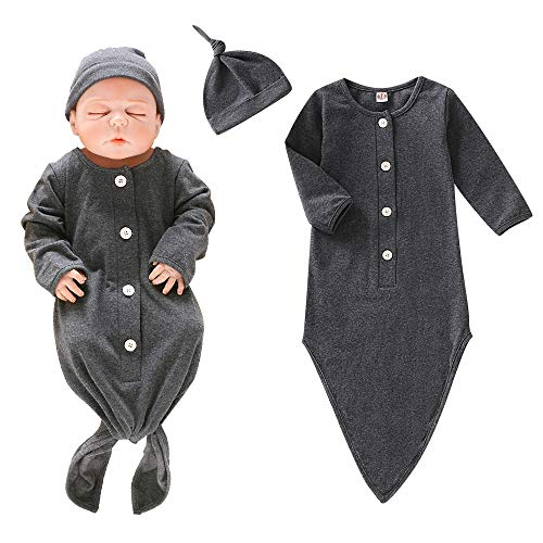 Newborn Baby Gown Cotton Unisex Nightgown Long Sleeve with Button Baby Sleeping Bags Baby Boy Girl Coming Home Outfits Set with Hat Dark Gray