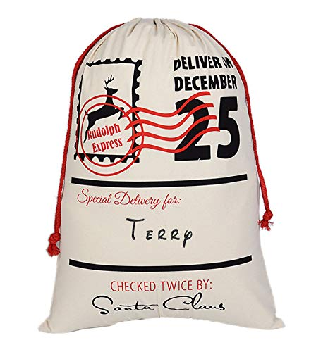 Aoloshow Terry Santa Sack Personalized Burlap Bag for Storking