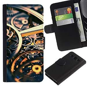KingStore / Leather Etui en cuir / Samsung Galaxy S3 III I9300 / Ingeniería Reloj Tiempo Oro Engranajes