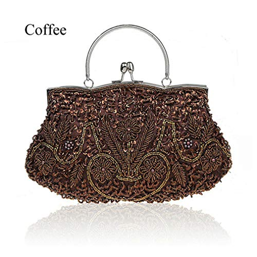 ULKpiaoliang Women Clutch Bags Beads Evening Exquisite Ladies Beaded Embroidered Bridal Handbag Wristlet Bolsos Small coffee Beaded Metallic Evening Bag