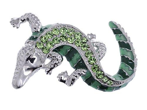 Alilang Green Silvery Tone Crawling Alligator Crocodile Reptile Body Brooch Pin ()