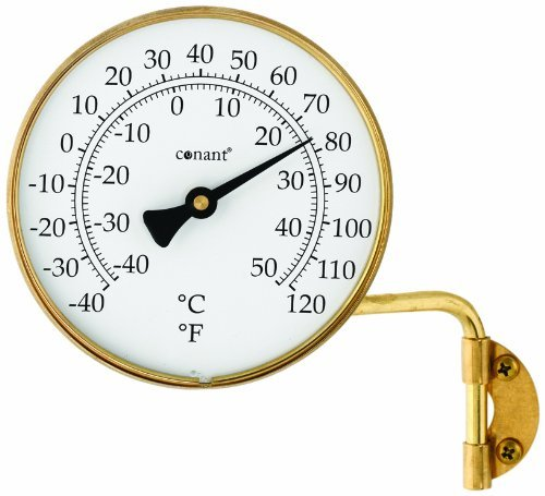 (CONANT T6LFB Vermont Dial Thermometer, 4-Inch, Living Finish Brass by Conant)