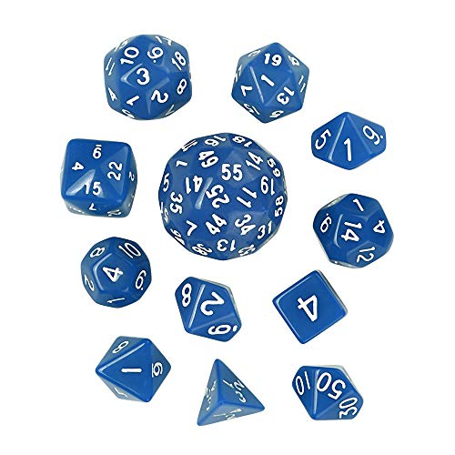 Huaa 12Pcs Game Dungeons & Dragons Polyhedral D60 Multi Sided Acrylic Dice ()