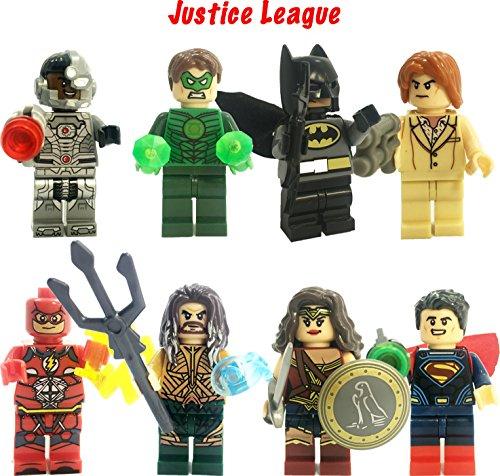Super Heroes Figures, 8 Set Super Heroes Marvel & DC Justice League Mini Figures include Superman,Batman,Wonder Women,Aquaman,Cyborg, The Flush and more (Marvel League Justice)