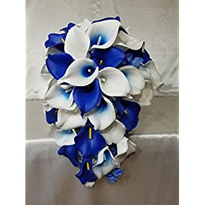 Royal Blue Ivory White Calla Lily Cascading Bridal Wedding Bouquet & Boutonniere 36