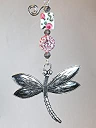 Beautifully Detailed Silver Metal Dragonfly with Pink Rhinestone & Rose Art Glass Ceiling Fan Pull Chain