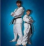 Unisex Adult Women Men Child Children Kid ITF WTF White Taekwondo TKD Martial Art Suit Uniform V-neck Coat Dobok Costume Cloth Set (M/150)