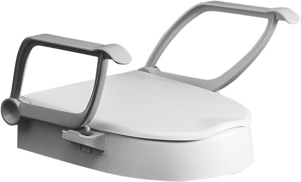 3.9 Inch Raised Toilet Seat mit Arms, Elevated Toilet Riser mit Removable Padded Handles, für Round Toilets, Easy auf und Off, Support 300 Lbs