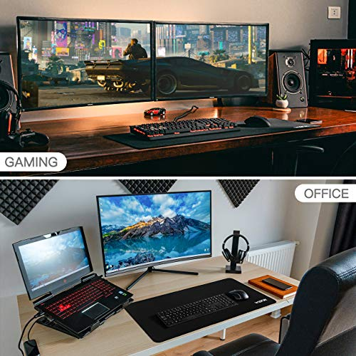 WisFox Alfombrilla Raton Gaming Grande, Alfombrilla de Ratón XXL 900 x 400 mm, Mouse Pad Impermeable con Base…