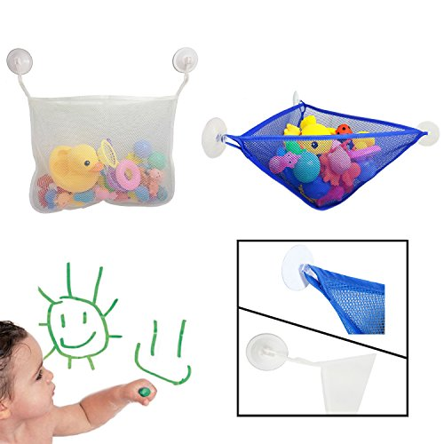 HIFANS Pack of 2 Baby Bath Toy Organizer with Strong Suction Cups - Baby Bath Storage Mesh Caddy Bag for Kids from HiFans