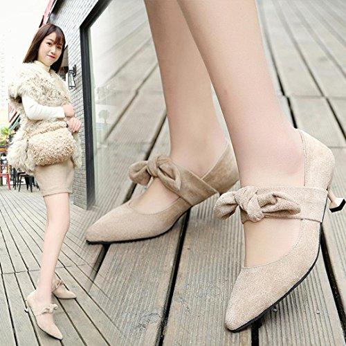 IGEMY Damen Schuhe, Schwarze Spitzen Pumps Schuhe High Heels Hochzeit Stiletto Schuhe Beige