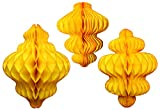 Set of 3 Gold Honeycomb Tissue Paper Hanging Ornament Decorations (11 inch, 10 inch, 8 inch)