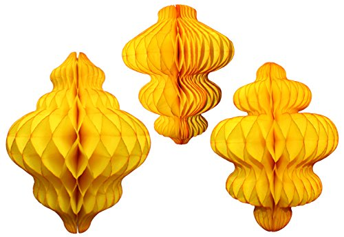 Set of 3 Gold Honeycomb Tissue Paper Hanging Ornament Decorations (11 inch, 10 inch, 8 inch) -