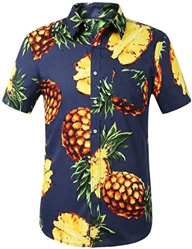 Leisurely Pace Men's Flower Casual Button Down Short Sleeve Hawaiian Shirt(13NY,S) ()