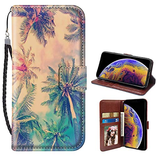 iPhone Xr Wallet Case Color Palm Tree PU Leather Card Holder Phone Cover with Kickstand Wrist Strap for Color Palm Tree iPhone Xr Case