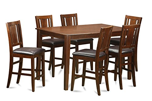 picture of East West Furniture DUBU7H-MAH-LC 7-Piece Gathering Table Set, Mahogany Finish
