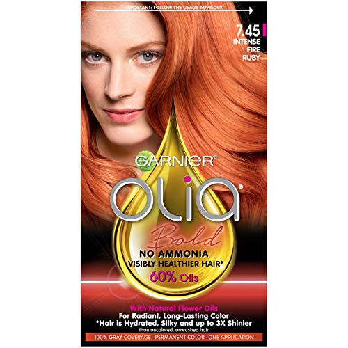 Garnier Olia Bold Ammonia Free Permanent Hair Color (Packaging May Vary), 7.45 Intense Fire Ruby, Red Hair Dye, 1 Count Kit (Best Red Hair Dye Brand)