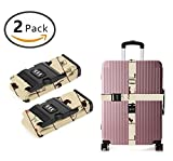 YEAHSPACE 2 Pack Cute Cat Eat On Line Luggage Straps Adjustable Travel Suitcase Baggage Belts With TSA 3-dial Combination Lock