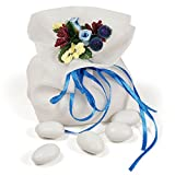 Moleya 20pcs Party Favors Wedding Favor Organza Pouches Candy Treat Gift Bags, Blue