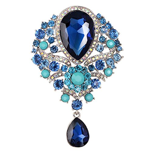 SANWOOD womem's Wedding Bridal Bouquet Clear Crystal Rhinestone Teardrop Dangle Brooch Pin (Dark Blue) from SANWOOD