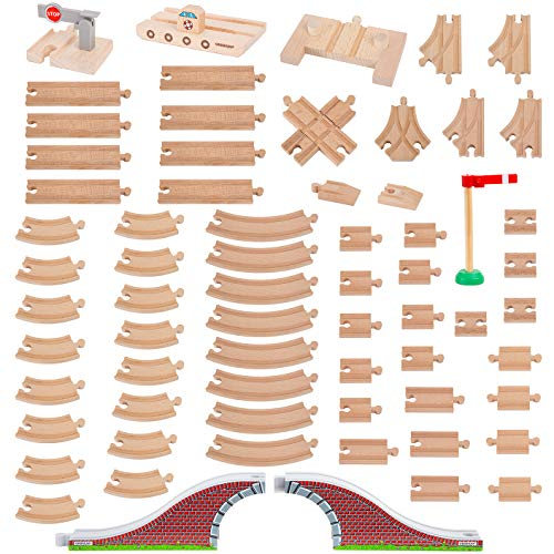 Orbrium Toys 68 Pcs Wooden Train Track Expansion Pack Compatible Thomas Wooden Train, Brio, Thomas The Tank Engine