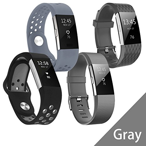 Hanlesi Band for Fitbit Charge 2 , Soft Silicone Adjustable Fashion Sport Strap for Fitbit Charge2 Replacement Fitness Accessory Wristband with hole (4 X Gray Series, Small size)