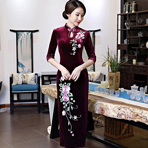 Wedding ZooBoo Qipao Red Women's Outfit Chinese Dress Traditional Oriental Cheongsam 00Urdq