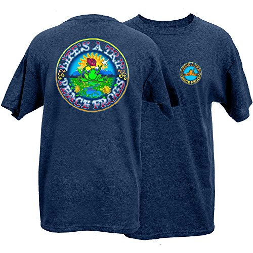 Peace Frogs Adult Life's A Trip Frog Short Sleeve T-Shirt (Heather Navy, XX-Large)