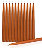 """Orange Dripless Taper Candles 10"""" Inch Tall Wedding Dinner Candle Set Of 12 (PUMPKIN)"""
