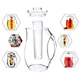 Tea and Fruit Infusion Pitcher with Detachable Ice Core Rod - 2.6 Quart
