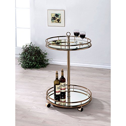Furniture of America CM-AC234 Trixie Champagne Serving Cart Kitchen Islands by Furniture of America