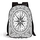 Backpack for Kids, Hand Drawn Windrose in Line Art Style Nautical Illustration Coloring Book Design Printed Children School Backpack Cool Bookbag,Black White