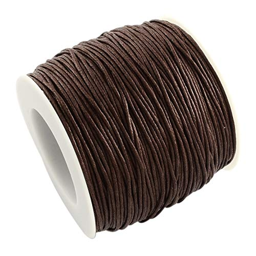 Craftdady 1mm 100 Yards Jewelry Making Beading Crafting Macram Waxed Cotton Cord Thread Rope String (Brown)