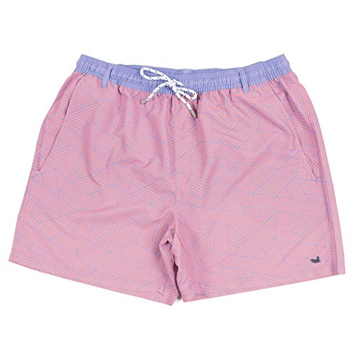 Southern Marsh Dockside Swim Trunk - Fractured Lines,Lilac & Peach,Medium