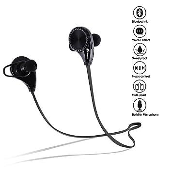 Moobom Auriculares Bluetooth Estéreo Auriculares Cancelación De Ruido Micrófono Integrado Inalámbrico Sweatproof Correr Gimnasio Deportes Auriculares