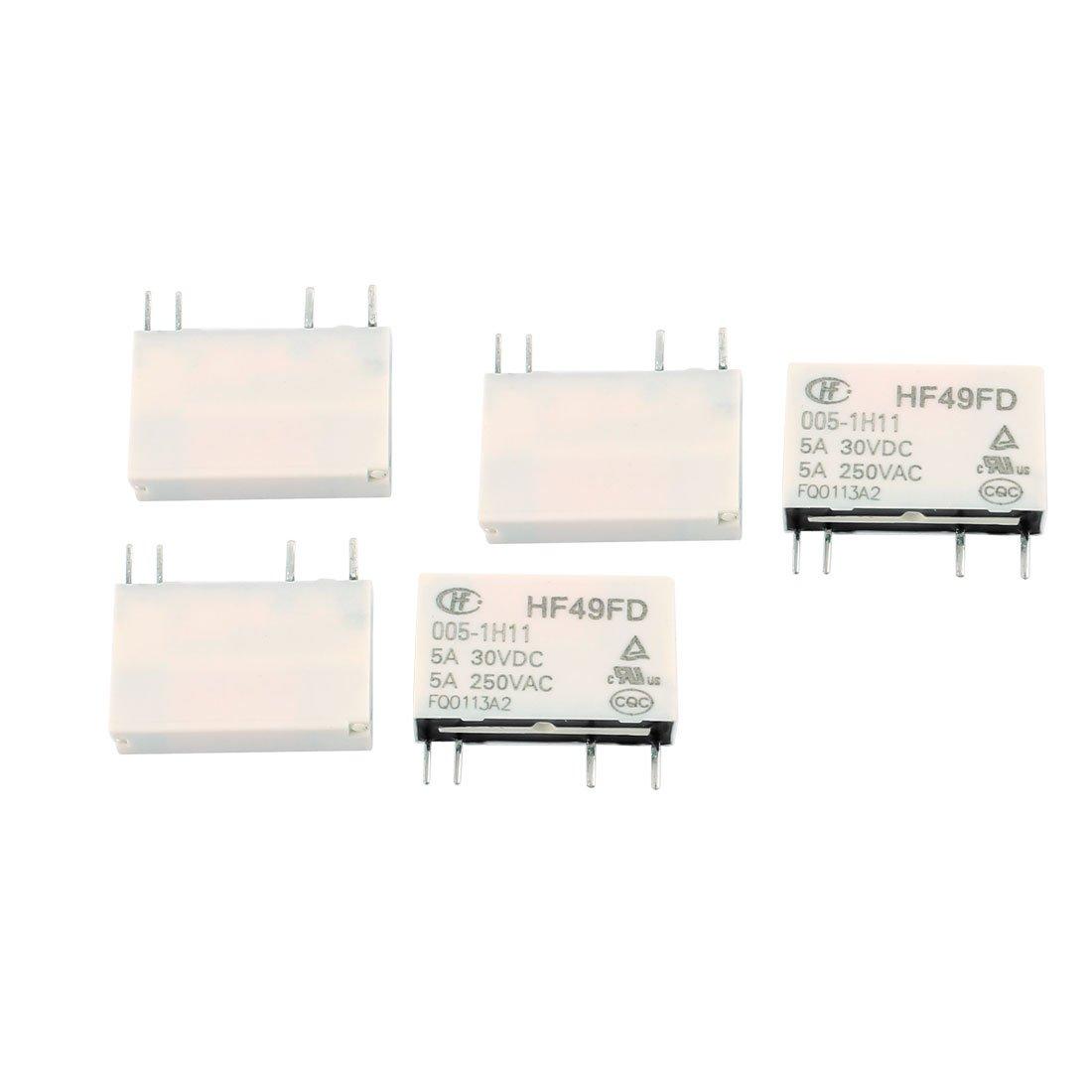 sourcingmap® 5 pcs 30VDC 250VAC 5A 4 Terminal no 1 NO HF49FD/005-1H11 Relais puissance sourcing map SYNCTEA000983
