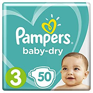 Pampers Baby-Dry Nappies, Size 3 Crawler (6kg-10kg), 50 Nappies