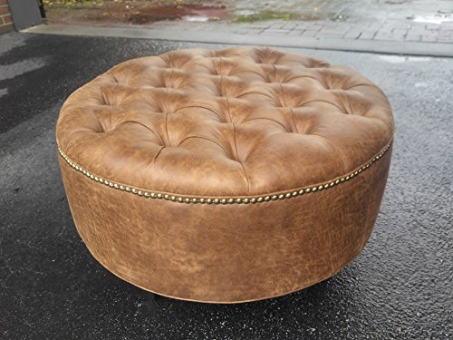 30'' Distressed Vegan Leather, Tufted Coffee Table Ottoman by Design 59 inc
