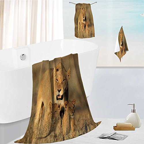 SCOCICI1588 Ultra Soft Bathroom Towels Set Lioness with young lion cubs (Panthera leo) in early morning light, Kalahari desert, South Africa 1 Shower Towel 1 Hand Towel and 1 Face Towel (Kalahari Square)