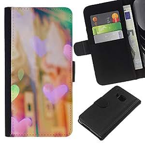 Planetar® Modelo colorido cuero carpeta tirón caso cubierta piel Holster Funda protección HTC One M9 ( Heart Fair Night City Lights City Vignette )