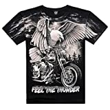 HOCOOL Cool Mens Feel The Thunder Eagle Motorcycle Full Printed Cotton T Shirt 3XL