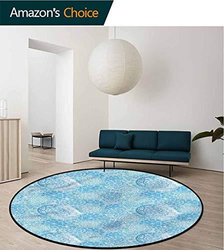 RUGSMAT Paisley Carpet Gray Round Area Rug,Eastern Vintage Ornament Pattern Floor Seat Pad Home Decorative Indoor Diameter-47