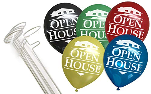 The Balloonie Open House Balloon Kit - No More Helium Needed! 5 Balloonie Stands and 25 Open House Balloons in a Mix of Colors