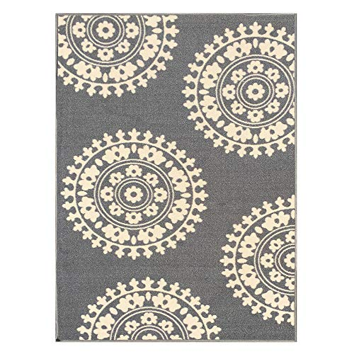 (5-feet X 7-feet Non-Skid Rubber Backed Area Rug | Grey - Ivory Medallion Modern Rectangle Rugs 5X7 )