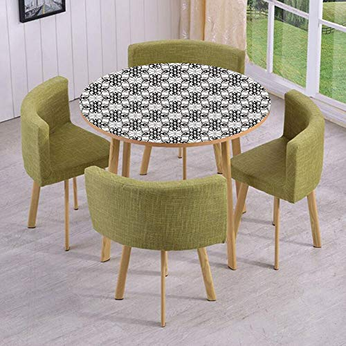 Round Table/Wall/Floor Decal Strikers/Removable/Victorian Lace Flower Pattern Curved Blooms Lines Vintage Print/for Living Room/Kitchens/Office Decoration