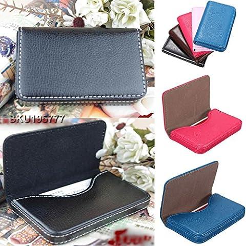 New Pocket Leather Business Credit Id Card Holder Wallet Storage Pocket Case (Black)
