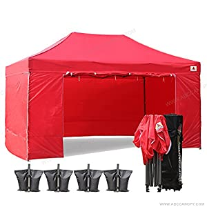 ?18+ colors?Abccanopy Deluxe 10x15 Pop up Canopy Outdoor Party Tent Commercial Gazebo with Enclosure Walls and Wheeled Carry Bag Bonus 4x Weight Bag and 2x Half Walls (red)