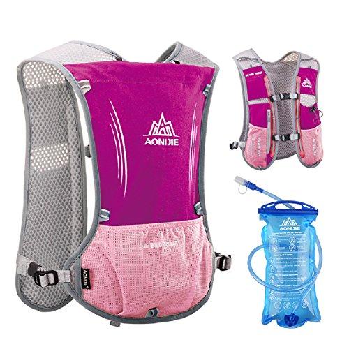 TRIWONDER Hydration Pack Backpack 5L Marathoner Running Race Hydration Vest (Rose Red – with 1.5L Water Bladder)