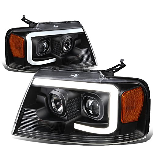 For Ford F150 / Lincoln Mark LT Black Housing Amber Corner 3D LED DRL Projector Headlight Lamp