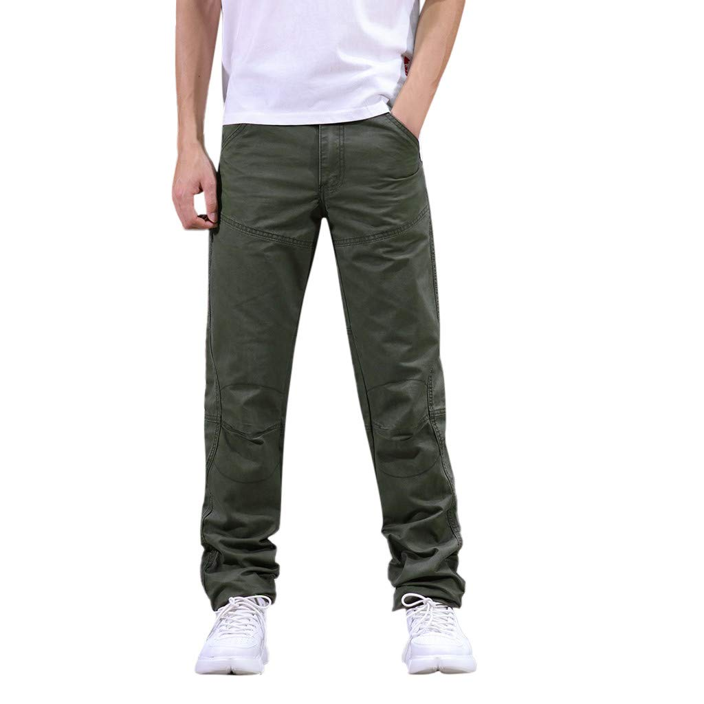 Men's Cool Summer Pant with Multi-Pocket Classic Relaxed Fit Overalls Army Green by Cianjue_Dress